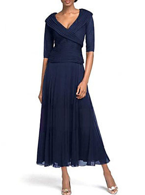 cheap Mother of the Bride Dresses-A-Line Mother of the Bride Dress Plus Size Plunging Neck Ankle Length Chiffon Half Sleeve with Ruching 2020 Mother of the groom dresses