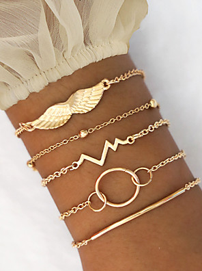 cheap Quartz Watches-5pcs Women's Vintage Bracelet Earrings / Bracelet Layered Wings Vertical / Gold bar Heart Rate Vintage Trendy Korean Fashion Boho Alloy Bracelet Jewelry Gold For Daily