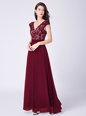 cheap Evening Dresses-A-Line Sexy Red Prom Formal Evening Dress V Neck Short Sleeve Floor Length Chiffon Lace with Pleats Lace Insert 2020