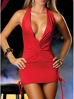cheap Suits-Women's Backless Sexy Nightwear Solid Colored Black White Red One-Size / Halter Neck