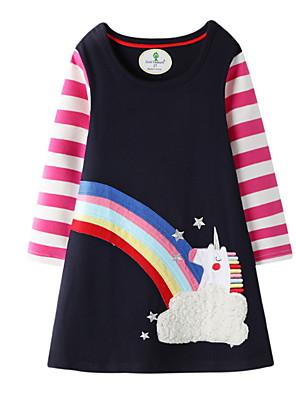cheap Boys' Tops-Kids Girls' Active Geometric Print Long Sleeve Knee-length Dress Navy Blue