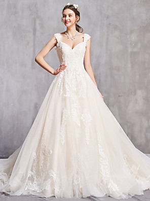 cheap Wedding Dresses-A-Line Wedding Dresses Off Shoulder Chapel Train Tulle Short Sleeve Sexy with Beading Embroidery 2020