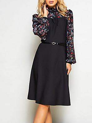 cheap Women's Dresses-Women's A Line Dress - Long Sleeve Color Block Print Vintage Black S M L XL XXL