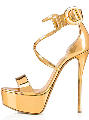 cheap Cocktail Dresses-Women's Sandals Black Sandals Plus Size Stiletto Heel Open Toe Sweet British Daily Party & Evening Solid Colored Faux Leather Summer Nude / Black / Gold