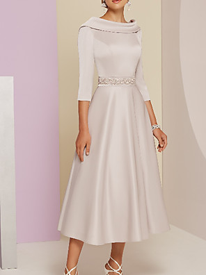 cheap Evening Dresses-A-Line Mother of the Bride Dress Elegant Vintage Plus Size Bateau Neck Tea Length Satin 3/4 Length Sleeve with Beading 2020