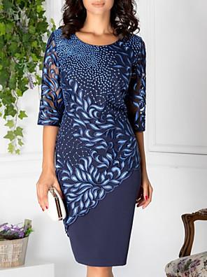 cheap Women's Dresses-Women's Shift Dress Knee Length Dress - Half Sleeve Geometric Lace Print Elegant Lace Blue M L