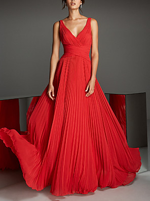 cheap Evening Dresses-A-Line Empire Red Engagement Formal Evening Dress V Neck Sleeveless Floor Length Chiffon with Pleats 2020