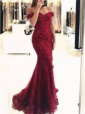 cheap Evening Dresses-Mermaid / Trumpet Luxurious Red Prom Formal Evening Dress Off Shoulder Short Sleeve Sweep / Brush Train Lace with Beading Appliques 2020