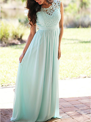 cheap Bridesmaid Dresses-A-Line Jewel Neck Floor Length Chiffon / Lace Bridesmaid Dress with Lace / Pleats
