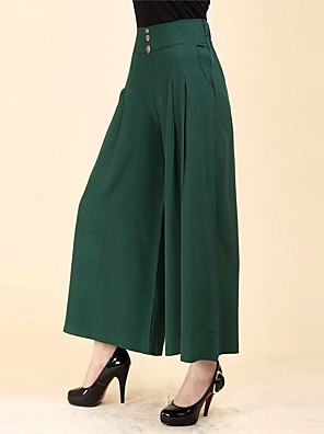 cheap Women's Skirts-Women's Street chic Plus Size Wide Leg Pants - Solid Colored Cotton Black Wine Orange XL XXL XXXL
