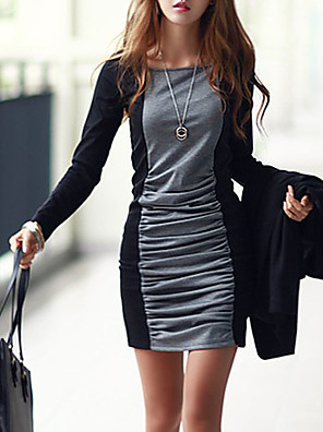 cheap Women's Dresses-Women's Mini Black & Gray Bodycon Dress - Long Sleeve Color Block Patchwork Basic Slim Gray S M L XL XXL XXXL XXXXL