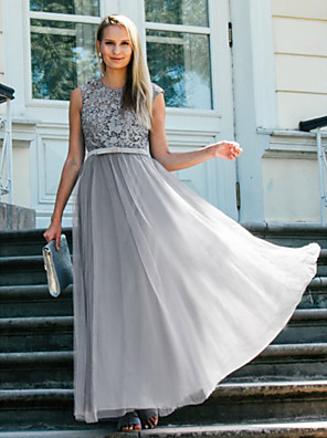 cheap Prom Dresses-A-Line Elegant Grey Prom Formal Evening Dress Jewel Neck Sleeveless Floor Length Lace Tulle with Bow(s) Appliques 2020