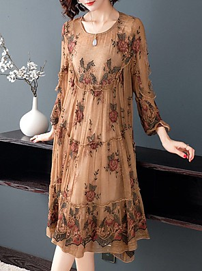 cheap Summer Dresses-Women's Plus Size Orangutan Rose Rubik's Cube A Line Dress - Long Sleeve Floral Lace Embroidered Ruffle Elegant Sophisticated Belt Not Included Camel M L XL XXL XXXL XXXXL XXXXXL
