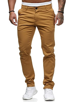 cheap Men's Pants & Shorts-Men's Basic Street chic Chinos Pants - Solid Colored Black & Gray White Black Red US32 / UK32 / EU40 / US34 / UK34 / EU42 / US36 / UK36 / EU44