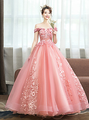 cheap Evening Dresses-Ball Gown Floral Pink Quinceanera Prom Dress Off Shoulder Sleeveless Floor Length Tulle with Pattern / Print Appliques 2020