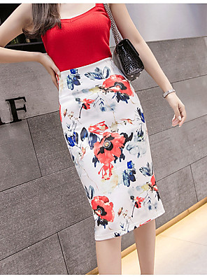 cheap Women's Skirts-Women's Bodycon Skirts - Floral Print Red L XL XXL