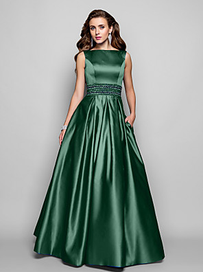 cheap Prom Dresses-A-Line Elegant Blue Prom Formal Evening Dress Boat Neck Sleeveless Floor Length Satin with Pleats Beading 2020