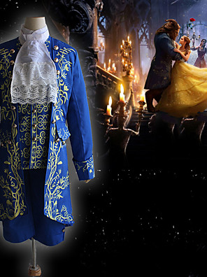 cheap Historical & Vintage Costumes-Prince The Beast and Beauty Vintage Inspired Medieval Outfits Masquerade Men's Costume Blue Vintage Cosplay Party Halloween Long Sleeve / Coat / Vest / Shirt / Pants / Collar