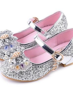 cheap Girls' Dresses-Girls' Flower Girl Shoes PU Heels Little Kids(4-7ys) Silver / Red / Pink Summer