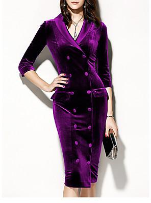 cheap Romantic Lace Dresses-Women's Velvet Basic Sheath Dress - Solid Colored V Neck Purple Red Green S M L XL