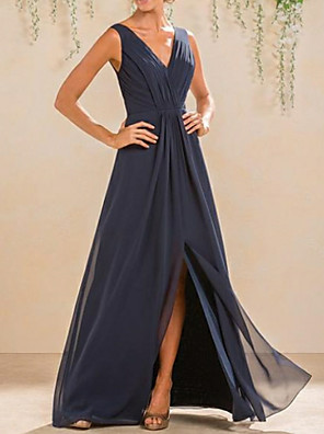 cheap Bridesmaid Dresses-A-Line V Neck Floor Length Chiffon Bridesmaid Dress with Pleats / Split Front / Open Back