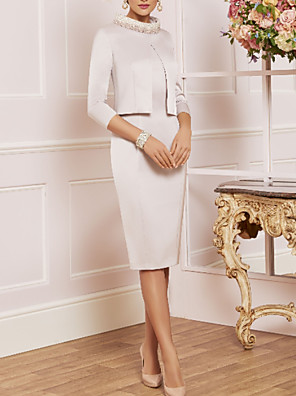 cheap Mother of the Bride Dresses-Sheath / Column Mother of the Bride Dress Elegant Vintage Plus Size High Neck Knee Length Satin 3/4 Length Sleeve with Crystals Appliques 2020