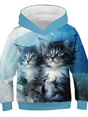 cheap Boys' Tops-Kids Girls' Active Street chic Cat Print 3D Animal Print Long Sleeve Hoodie & Sweatshirt Blue