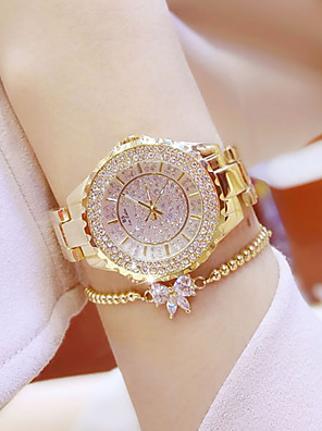 cheap Quartz Watches-Women's Bracelet Watch Quartz Ladies Diamond Stainless Steel Silver / Gold Analog - Gold Silver Golden Watch with Bracelet One Year Battery Life / Luminous / Rhinestone / Xingguang 377