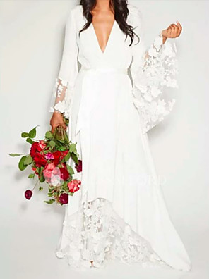 cheap Wedding Dresses-A-Line Wedding Dresses V Neck Floor Length Chiffon Lace Long Sleeve Casual Illusion Detail with Lace Insert 2020