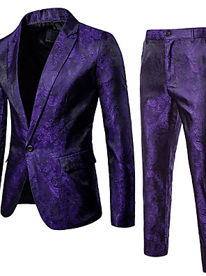 cheap Shirts-Men's Suits Notch Lapel Polyester Black / Wine / Purple