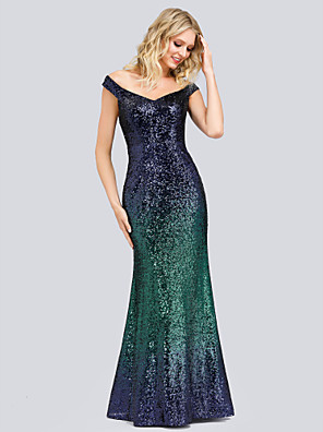 cheap Evening Dresses-Mermaid / Trumpet Elegant Formal Evening Dress Off Shoulder Sleeveless Floor Length Nylon Polyester with Sequin 2020