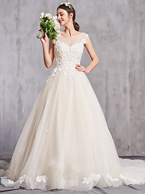cheap Wedding Dresses-A-Line Wedding Dresses Bateau Neck Chapel Train Lace Cap Sleeve Sexy with Beading Embroidery 2020