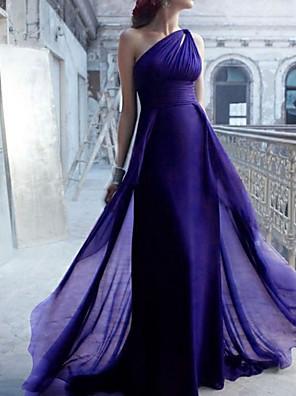 cheap Bridesmaid Dresses-Mermaid / Trumpet One Shoulder Sweep / Brush Train Chiffon Bridesmaid Dress with Ruching / Open Back