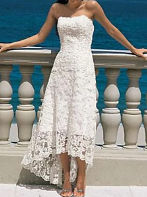 cheap Wedding Dresses-A-Line Wedding Dresses Strapless Asymmetrical Lace Strapless Beach Illusion Detail with 2020