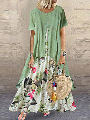 cheap Print Dresses-Women's Maxi long Dress - Short Sleeve Floral Layered Button Print Summer Plus Size Casual Holiday Vacation Loose 2020 Purple Yellow Pink Orange Green M L XL XXL XXXL XXXXL XXXXXL