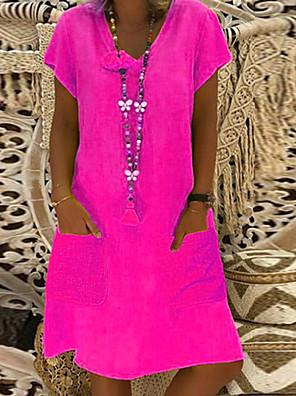 cheap Summer Dresses-Women's Plus Size Shift Dress Short Mini Dress - Short Sleeve Summer V Neck Basic Vacation Loose Wine Black Purple Yellow Blushing Pink Fuchsia Royal Blue Light Blue S M L XL XXL XXXL XXXXL XXXXXL