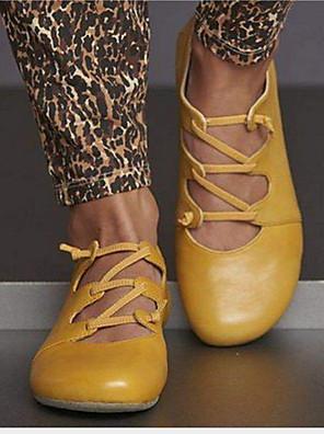 cheap Bridesmaid Dresses-Women's Flats Flat Heel Round Toe Cowhide Summer Yellow / Red / Blue
