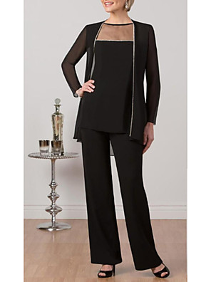 cheap Mother of the Bride Dresses-Pantsuit / Jumpsuit Mother of the Bride Dress Elegant Plus Size Bateau Neck Floor Length Chiffon Tulle Long Sleeve with Lace 2020
