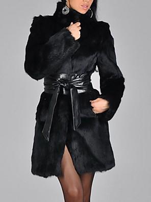 abordables Abrigos de pieles y de piel sintético de mujer-Mujer Noche Invierno Largo Abrigo de Piel, Un Color Cuello Alto Manga Larga Piel Sintética Negro