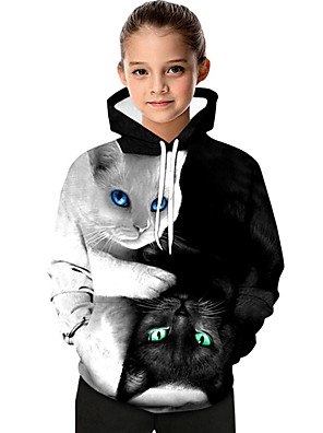 cheap Boys' Tops-Kids Toddler Girls' Active Basic Black & White Cat Geometric Print Color Block Print Long Sleeve Hoodie & Sweatshirt White / Animal