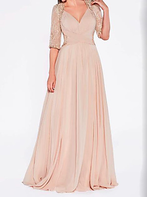 cheap Evening Dresses-A-Line Mother of the Bride Dress Sexy Plus Size Plunging Neck Sweep / Brush Train Chiffon Lace Half Sleeve with Lace Criss Cross Pleats 2020