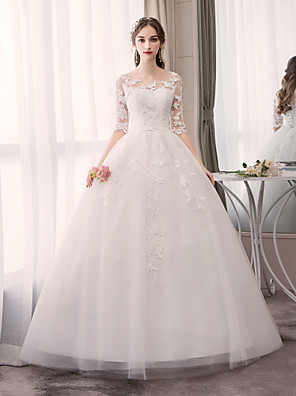 cheap Wedding Dresses-Ball Gown Wedding Dresses Jewel Neck Floor Length Tulle Half Sleeve Glamorous See-Through Backless Illusion Sleeve with Appliques 2020