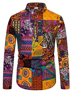 cheap Men's Shirts-Men's Daily Shirt Color Block Long Sleeve Tops Basic Rainbow