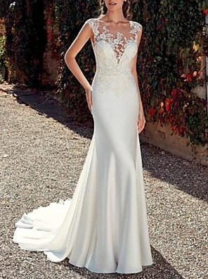 cheap Wedding Dresses-Sheath / Column Wedding Dresses Jewel Neck Sweep / Brush Train Lace Satin Cap Sleeve Mordern Sparkle & Shine with Appliques 2020
