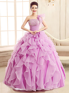 cheap Prom Dresses-Ball Gown Elegant Formal Evening Dress One Shoulder Sleeveless Floor Length Tulle with Sequin Tier Cascading Ruffles 2020