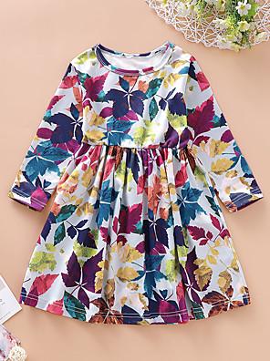 cheap Girls' Dresses-Kids Toddler Girls' Basic Sweet Plants Trees / Leaves Patchwork Long Sleeve Knee-length Dress White / Cotton