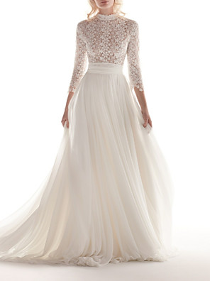 cheap Wedding Dresses-A-Line Wedding Dresses High Neck Sweep / Brush Train Chiffon Lace 3/4 Length Sleeve Romantic See-Through Illusion Sleeve with Appliques 2020