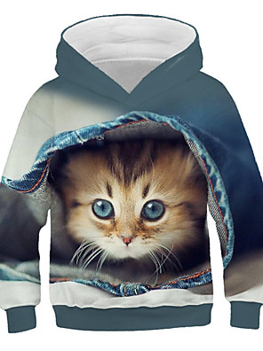 cheap Boys' Tops-Kids Girls' Active Street chic Cat Print 3D Animal Print Long Sleeve Hoodie & Sweatshirt Blue