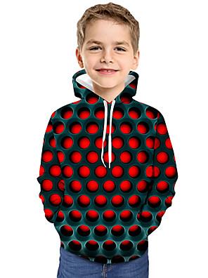 cheap Girls' Dresses-Kids Toddler Boys' Active Basic Geometric Color Block 3D Print Long Sleeve Hoodie & Sweatshirt Red