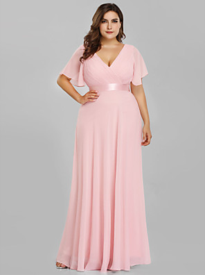 cheap Prom Dresses-A-Line Empire Plus Size Prom Formal Evening Dress V Neck Short Sleeve Floor Length Chiffon Satin with Pleats Ruched 2020
